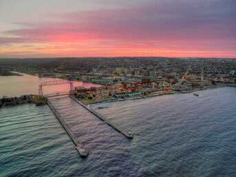 Beautiful Lift bridge aerial shot during a summer sunset in Duluth, MN